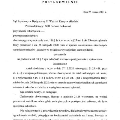 Jest kolejne postanowienie Sądu o umorzeniu postępowania z art. 116 k.w.